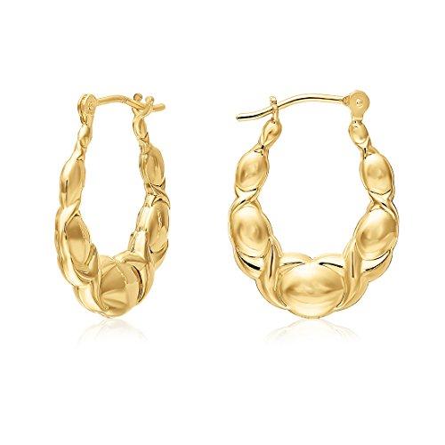 Small Size 10k Yellow Gold XO Hoop Earrings ()
