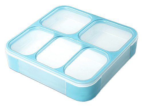 YOYOHOME 1.2L Bento Lunch Box Set   Eco-Friendly, BPA Free, Leakproof Container & Airtight Lid with 5 Compartments - For Kids & Adults - Easy Portion Control Container is Dishwasher (blue) by YOYOHOME