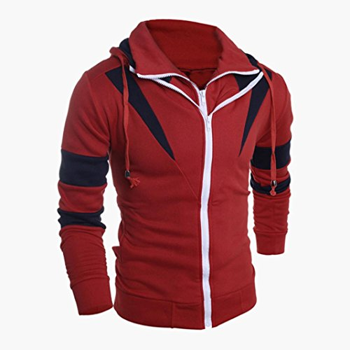 Shybuy Men's Long Sleeve Zip Hoodies Fashion Sweatshirt Layered Jackets Coat Outwear (Red, S) by Shybuy Mens Top