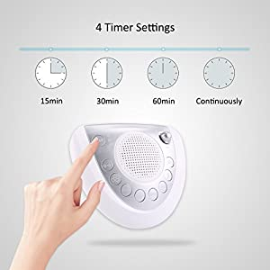 White Noise Machine Raynic Sound Machine Portable Sleep Machine with 8 Natural Soothing Sounds, Timer, USB Port, Headphone Jack for Baby, Kids, Adults, Travel, Office, Home