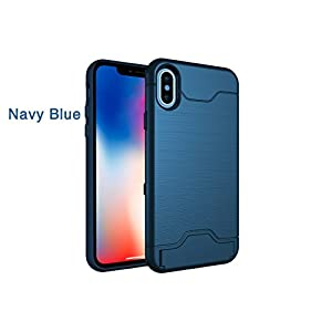 iPhone X Case, Wallet and Kickstand All In One, Protective Bumpers Shockproof, Non Slip (Wireless Charging Compatible) Dual Layer case with Foldable Kickstand and Hidden Card Slot (Navy Blue)