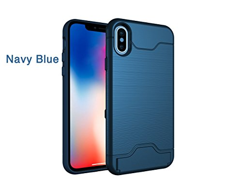 Cheap iPhone Xs 2018, iPhone X Case, Wallet and Kickstand All in One,Shockproof, Non Slip (Wireless Charging Compatible) Dual Layer case with Foldable Kickstand and Hidden Card Slot (Navy Blue)