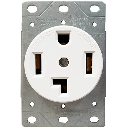 Mount Flush 250v (ENERLITES 30 Amp 125/250 Volt Electrical Dryer Outlet 66300-W | NEMA 14-30R, Outdoor/Indoor, Flush Mount Receptacle, 3-Pole, 4 Wire, (10,8,6,4) AWG, Industrial Grade, UL Listed | White)