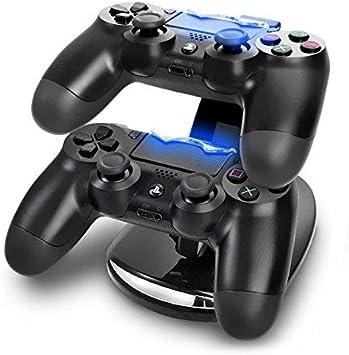 Skins4u - Estación de carga para mandos/soporte horizontal USB doble para 2 mandos/cargador con iluminación led de color azul/cable USB/dispositivo de carga doble para 2 mandos (PS4, PS3, Xbox One), PS4 LED