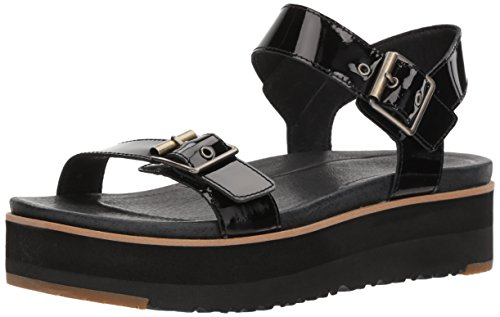 UGG Women's Angie Wedge Sandal, Black, 7 M US by UGG