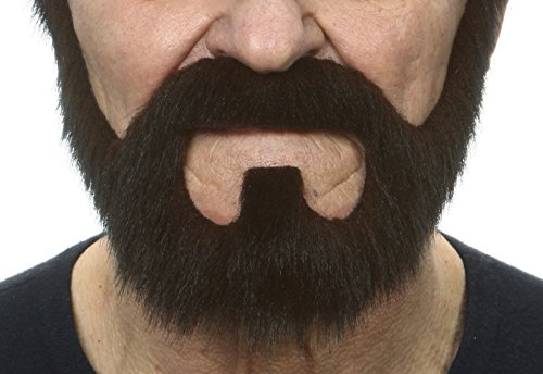Mustaches Self Adhesive, Novelty, On Bail Fake Beard, False Facial Hair, Costume Accessory for Adults, Brown Color -