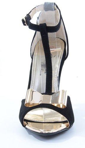 Da Donna Con Cinturino A Tacco Con Fiocco Oro Metallizzato