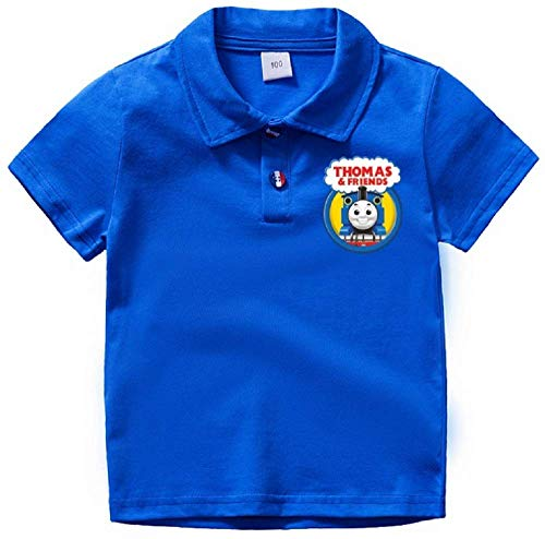 Boys' Thomas Train and Friends Short Sleeve Polo Shirt Toddler 2-7T Boys Summer Top(Blue, 4T)