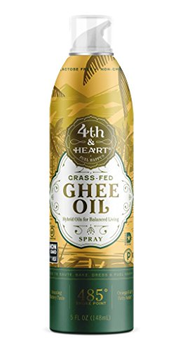 Grass-Fed Ghee Oil Cooking Spray by 4th & Heart, 5oz, Non-GMO Verified Hybrid Oil, Balanced Omega 3-6-9