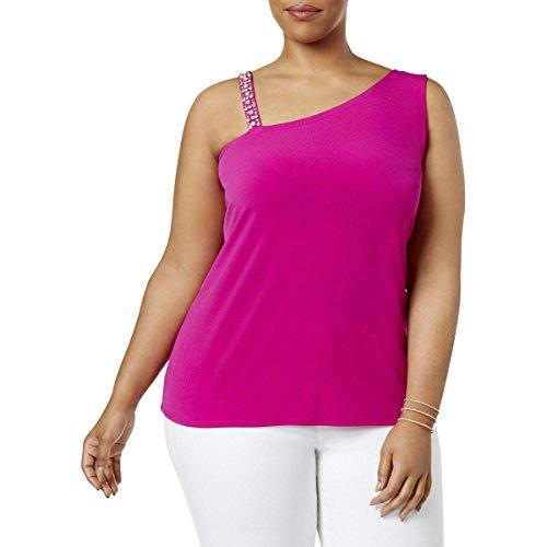 INC Womens Plus Tropic Heat Jeweled Sleeveless Blouse Purple 1X -