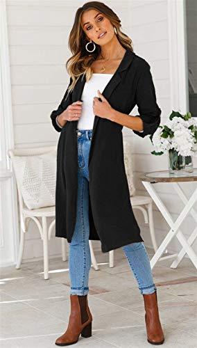 Manica Leggero Puro Donna Colore Lungo Schwarz Relaxed Cute Lunga Jacket Cardigan Primaverile Cappotto Moda Casual Eleganti Chic Autunno Giacche Spacco q1c0vqr