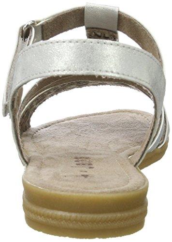 para Sandalias Plateado Mujer Cuña Silver con Jana 28114 941 IBxCqw5O