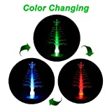 ANGROC LED Mini USB Powered 7 Colors Fiber Optic Seasonal Decorative Christmas Tree with Top Star Light for Merry Christmas Holiday Time Decor for Notebook Desktop (Color Changing)
