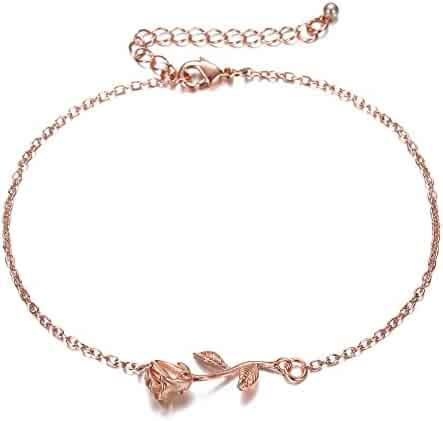 Rose Gold Women Anklets jewelry - Exquisite 18K Rose Gold Plating Brass Adjustable Chain For Mother's Day