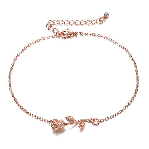 3UMeter Rose Gold Women Girls Anklets Jewelry Beach Ankle Bracelet Great Foot Jewelry Gift for Valentine Mother's Day -