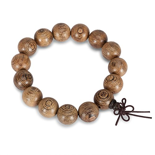 City Pierce Bracelet Natural Solid Wood Oak Natural Brown 15 Smooth Balls 15mm Bead Elastic Mala