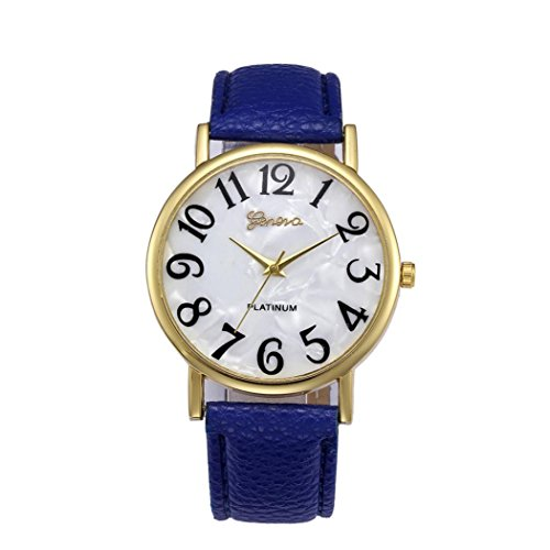 Women Retro Watches Digital Dial Watches Leather Band Watches Quartz Analog Watches Wrist Watch Ladies Watch (Blue)