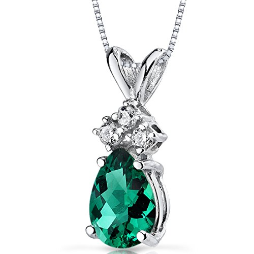 14 Karat White Gold Pear Shape 0.50 Carats Created Emerald Diamond - Jewelry Emerald Diamond
