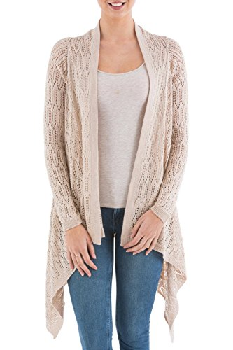 NOVICA Beige Alpaca Wool Blend Sidetail Cardigan Sweater, Mirage'