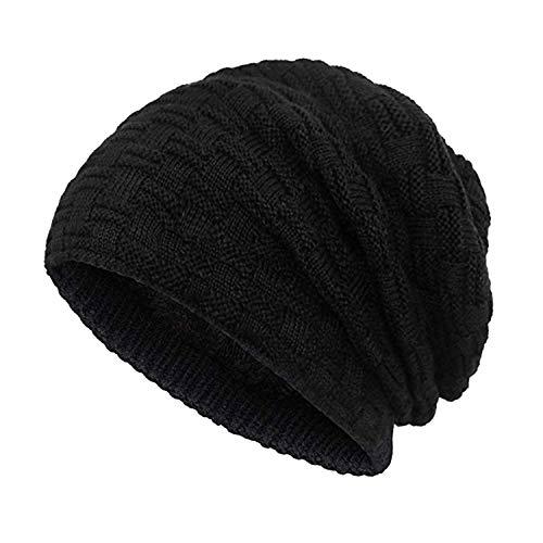 Double Couple Men Beanie Hat Winter Knit Hats Baggy Slouchy Fleece Lined Ski Skull Cap (Black)