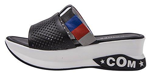 Caihee Kvinna Sommar Tillfälliga Mesh Och Läder Mode Hög Plattform Kil Sandaler Svart
