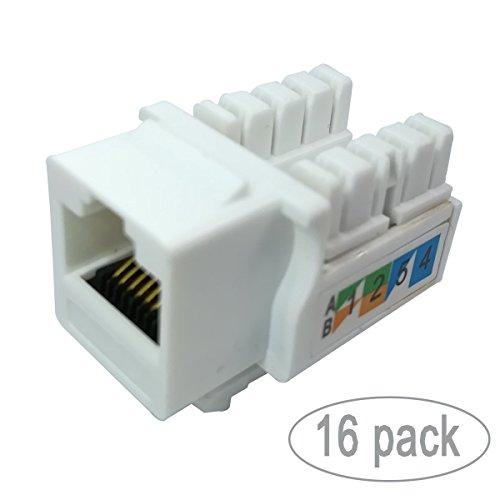 J45 Network Module Coupler White 16-pack (Coupler Keystone Insert Module)