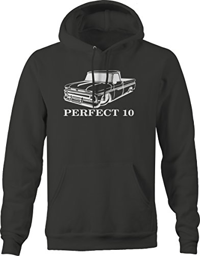 - Perfect 10 Chevy C10 GMC Fleetside 1960s Pickup Truck Hooded Sweatshirt - XLarge Charcoal