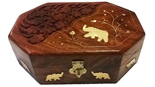 Thanksgiving Gift, Wooden Jewellery Box,Octal Carving Storage Box, Vintage Box, Keep sake Box.