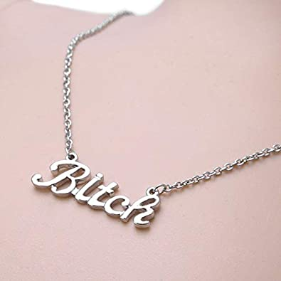 RUIZHEN Silver Simple Letter Bitch Pendant Necklace