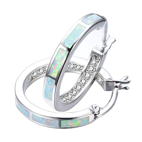 - RongXing Jewelry New 925 Sterling Silver Whtie Blue Opal Party Hoop Stud Earrings White CZ Engagement Girls Diamons Earrings (White)