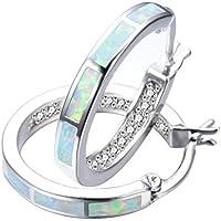 RongXing Jewelry New 925 Sterling Silver Whtie Blue Opal Party Hoop Stud Earrings White CZ Engagement Girls Diamons Earrings (White)
