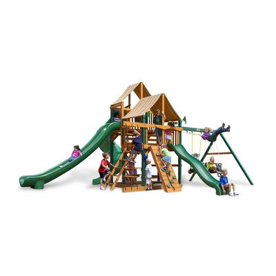 Gorilla Playsets Swing Set with Ladder and Sunbrella Weston Ginger Canopy