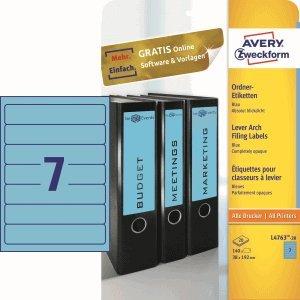 Avery Zweckform – Etiquetas para archivadores 192 x 38 mm autoadhesivo azul VE=140 unidades