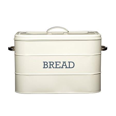 KitchenCraft Living Nostalgia Large Metal Bread Bin, 34 x 21.5 x 25 cm - Antique Cream LNBBINCRE