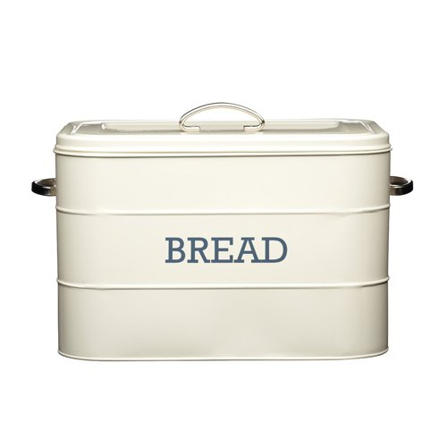 Designer Bread Bin - Kitchen Craft Living Nostalgia Large Metal Bread Bin, 34 x 21.5 x 25 cm - Antique Cream
