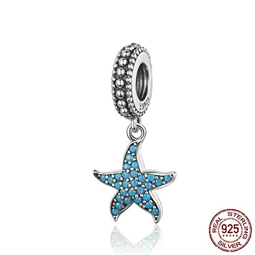 WANZIJING 925 Sterling Silver Ocean Charm, Starfish Mermaid Tail Shell Pearl Charm Good Luck Bead Charms Fits Bracelet Necklace,L