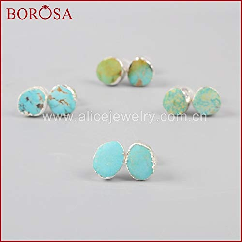 (Pure Silver Color Freeform Natural 100% Blue Stone Earrings | Fashionable Druzy Stud Earings Gems Jewelry for Women Girls Ss043)