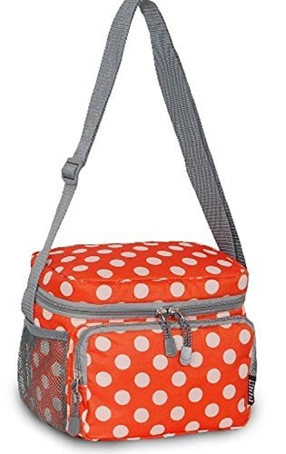 Everest Cooler Lunch Bag, One Size, Orange Polka