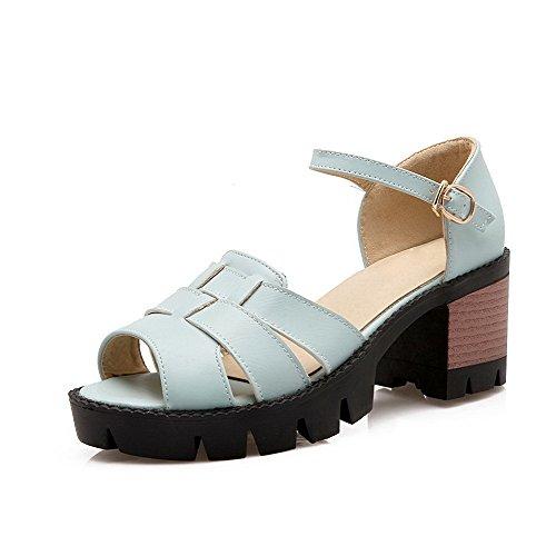 AgooLar Women's Buckle Open-Toe High Heels Pu Solid Sandals Blue lxRqw