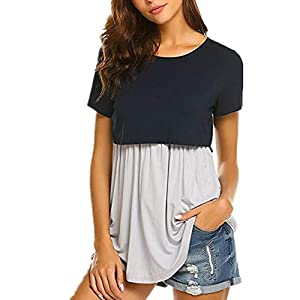 """""""N/A"""" XMRSTAR Women's Nursing Top Short Sleeve Maternity T-Shirt for Breastfeeding with Layered Design Maternity Nursing Tops Short Sleeve Breastfeeding Shirts Blouse Tunic Clothes for Pregnant"""