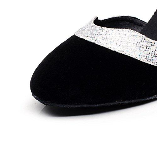 Moderne Womens Jazz Tango Toe Sandales Black Chaussures Samba Chacha heeled7 Dance Latin HeelSalsa UK6 5cm Our40 Fermé EU39 JSHOE zfqpx1q