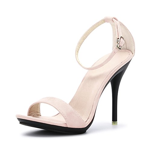 - OCHENTA Women's Ankle Strap Stiletto High Heel Dress Sandals Suede Nude Size US 11