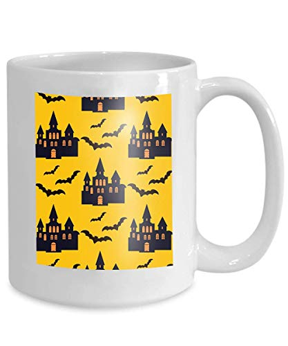 (mug coffee tea cup halloween pattern holiday design design template haunted castle trees bats full moon Simple)