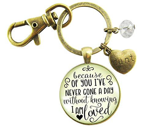 Aunt Keychain Because Of You I've Never Gone a Day I Am Loved Sentimental Gift Family Aunt Jewelry For Women (Many Hearts One Family Jewelry)