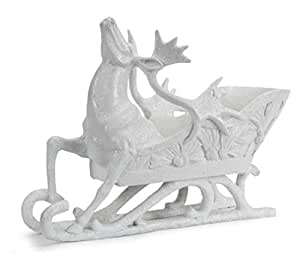 """12.75"""" Sparkling Whites Glittered Reindeer and Sleigh Christmas Decoration"""