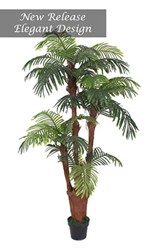AMERIQUE Gorgeous Tech, w Gorgeous & Unique 6 Feet Tropical Palm Tree Artificial Plant with Nursery Plastic Pot, Real Touch Technology, with UV Protection, Super Quality, 6', Green ()