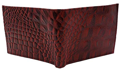 AG Wallets Genuine Leather Stimulated Crocodile Imprint Bi-fold Wallet (Red)