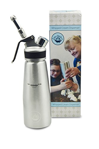 Whipped Cream Dispenser Makes Professional Whipping Cream W/Leakproof Aluminum Canister and Upgraded Stainless Steel Tips - Use Standard N2O Whip Cream Chargers (not included) by Blue Lily Goods