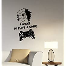 Jigsaw I Want to Play A Game Quote Vinyl Wall Decal Gamer Gamepad Joystick Sticker Video Gaming Art Movie Decorations for Home Room Bedroom Horror Decor Ideas gm4