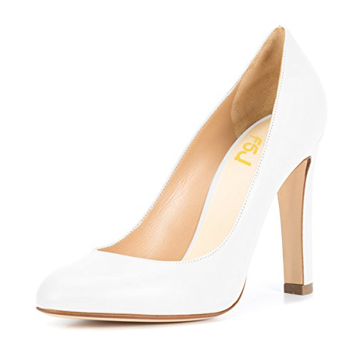 FSJ Women Elegant Round Toe Formal Pumps Slip On Office Dress Shoes Chunky Heels Size 4-15 US White order for sale clearance cheap price geniue stockist sale online buy cheap visit new best prices sBmeJEP5Co